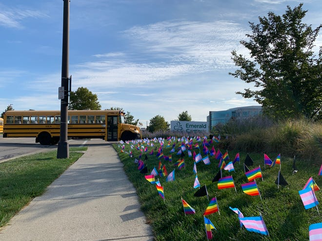 Dozens of politically oriented flags appeared outside Dublin City Schools' Emerald Campus the morning of Sept. 29.