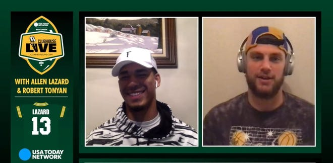 Green Bay Packers wide receiver Allen Lazard (left) co-hosted Monday's Clubhouse Live. Lazard's guest was tight end Robert Tonyan (right).