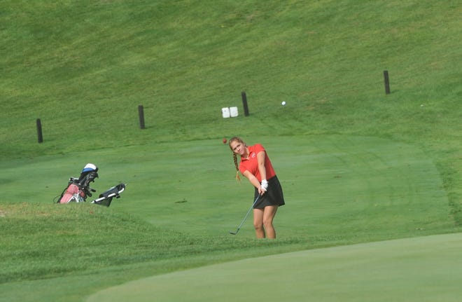 Shelby's Nicole Jones chips onto the green of the 9th hole in the D-II girls golf sectional tournament at Valley View Golf Course.