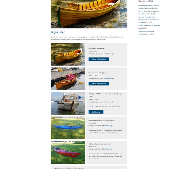 A variety of boats are featured for sale in this screenshot from Lake Champlain Maritime Museum's website. Donated boats support LCMM's many youth programs.