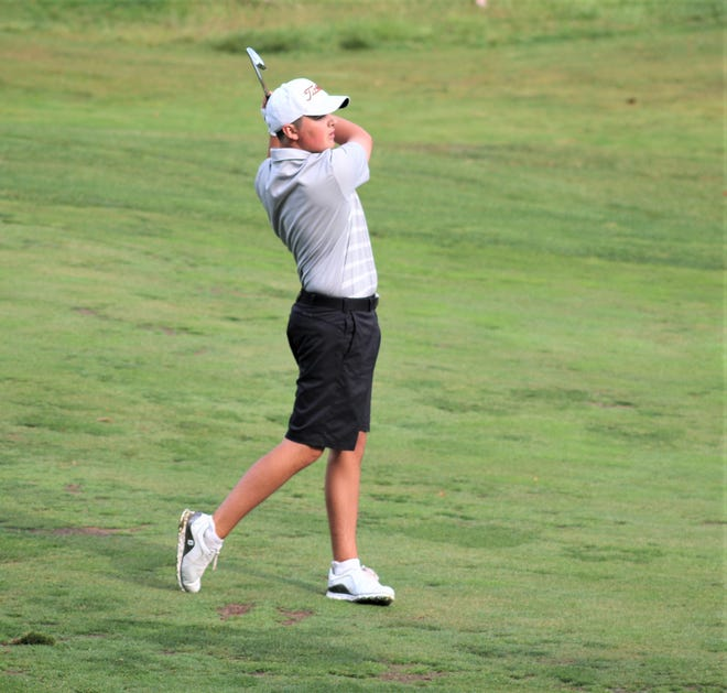 Rylan Wotherspoon of Cooper hits from the fairway during the KHSAA Region 7 boys golf tournament Sept. 28, 2020 at Summit Hills Country Club, Crestview Hills, Ky.