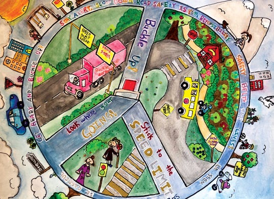 Second-grade Hillsborough studentGianna Liuwon top honors inthe 2020 Road Safety Student Art Contest, hosted by theU.S. Department of Transportation's Federal Motor Carrier Safety Administration (FMCSA).