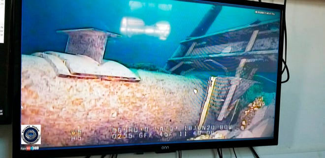 FILE - This June 2020, file photo, shot from a television screen provided by the Michigan Department of Environment, Great Lakes, and Energy shows damage to anchor support EP-17-1 on the east leg of the Enbridge Line 5 pipeline within the Straits of Mackinac in Michigan.