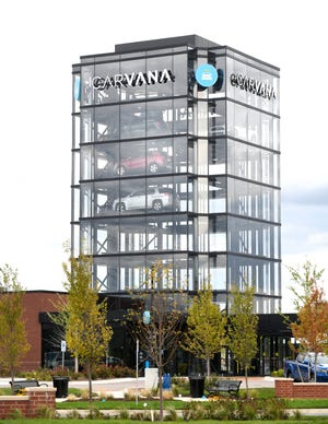 The eight-story Carvana car vending machine in Novi can accommodate 27 vehicles.