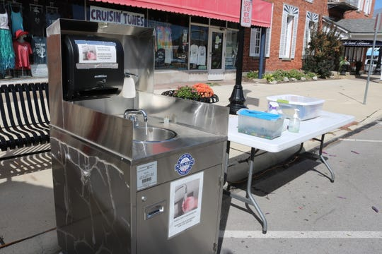 The city of Port Clinton installed this station for patrons of downtown businesses to have a place to sanitize and wash their hands outside. Expenses like this incurred due to the COVID-19 pandemic may be eligible to be covered by CARES Act funds.