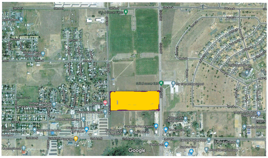 The city is proposing to build the recreation and aquatics center south of Seibel Soccer Complex, across 57th Street North from Loy Elementary School. The 10 acres is highlighted by yellow.