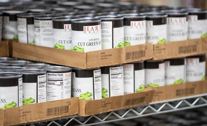 Food cans in an Indianapolis food pantry are pictured.