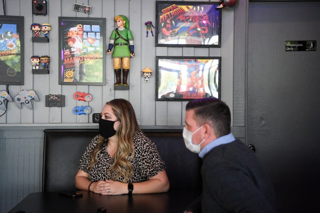 Courtney and Chris Barry speak to Knox News at their Bit Burger restaurant Sept. 29, 2020. The couple plan to open their new concept, Space Bar, in the same Cedar Bluff shopping center this summer.
