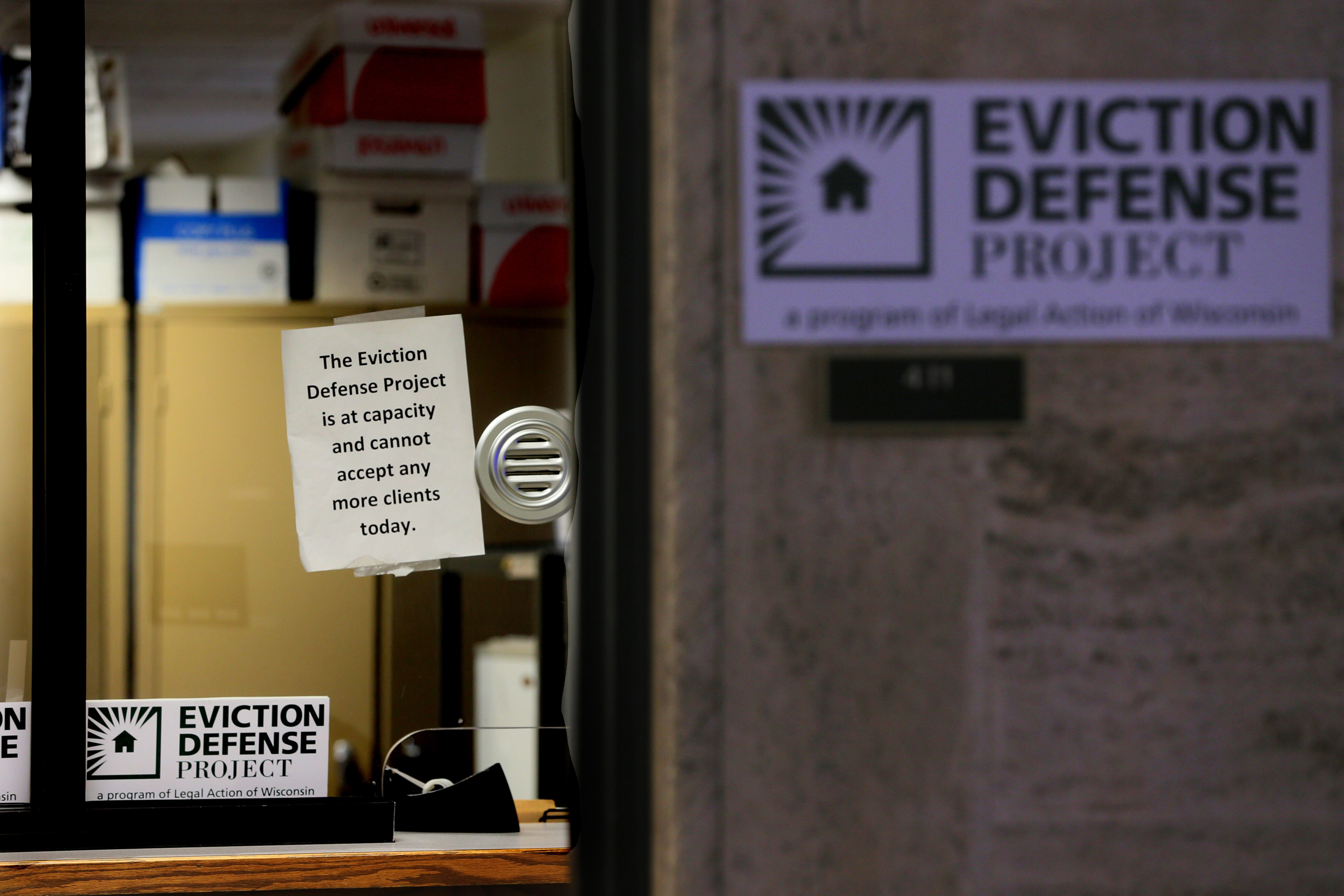 The office of the Legal Eviction Defense Project at the Milwaukee County Court House January 2020. The program that launched in 2017 provides free legal aid for low-income tenants who are facing eviction. Amid eviction moratoriums due to COVID-19, the defense project served fewer clients in 2020 than in a typical year.