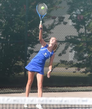 Mountain Home's Cambelle Lance serves during a recent match. Lance and Micaela McLean won the 5A-West doubles championship on Tuesday in Russellville.