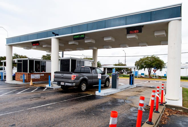 The current parking payment booths at Dannelly Field Airport in Montgomery, Ala., on Tuesday September 29, 2020.
