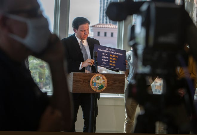 Gov. Ron DeSantis shows a card stating COVID-19 survival rates by age group as he announces business openings at a news conference in St. Petersburg on Sept. 25.