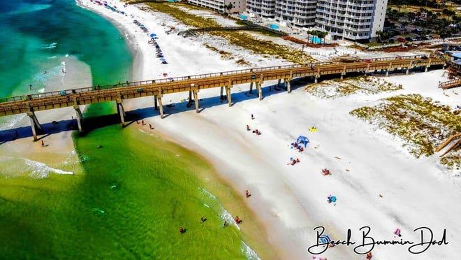 "A miniature ""sand bar"" emerged underneath the Navarre Beach Fishing Pier after Hurricane Sally."