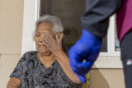 Eugenia Cromwell, 78, is a high-risk White Mountain Apache Tribe COVID-19 patient.