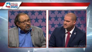 Rep. Raul Grijalva, D-Ariz., debates Republican Daniel Wood on Monday, Sept., 28, 2020. Both men are running for Arizona's 3rd Congressional District.