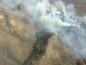 Aerial view of a previous fire in the Tonto National Forest on Sept. 27, 2020.