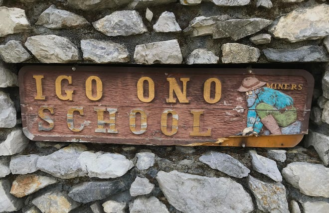 Sign outside the Igo-Ono Elementary School on Tuesday, Sept. 29, 2020.