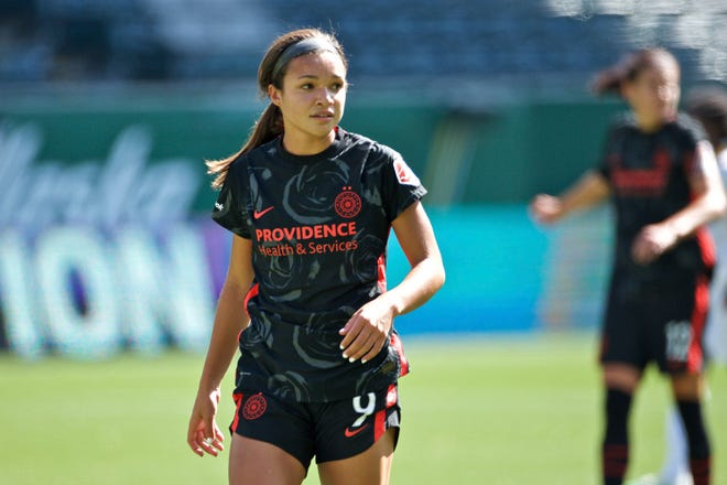 Thorns' Sophia Smith looks on during an NWSL soccer match against Utah on Sunday, Sept. 20, 2020, in Portland.