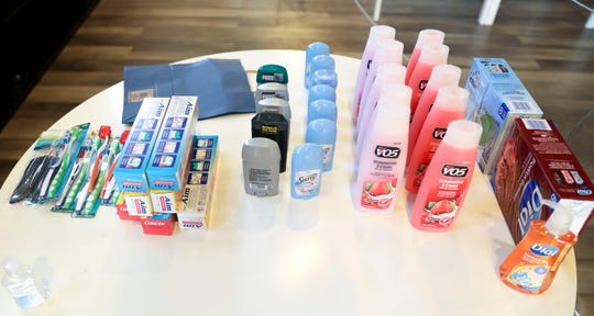 Hygiene supplies for youth are laid out before being packed up at The Salem Drop on Monday, Sept. 28, 2020.