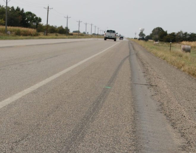 This image from U.S. 14 west of Highmore shows tire skid marks likely made by the car of South Dakota Attorney General Jason Ravnsborg near where 55-year-old Joseph Boever was struck and killed on Sept. 12.