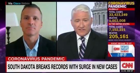 Sioux Falls Mayor Paul TenHaken speaks with CNN anchor John King on Tuesday