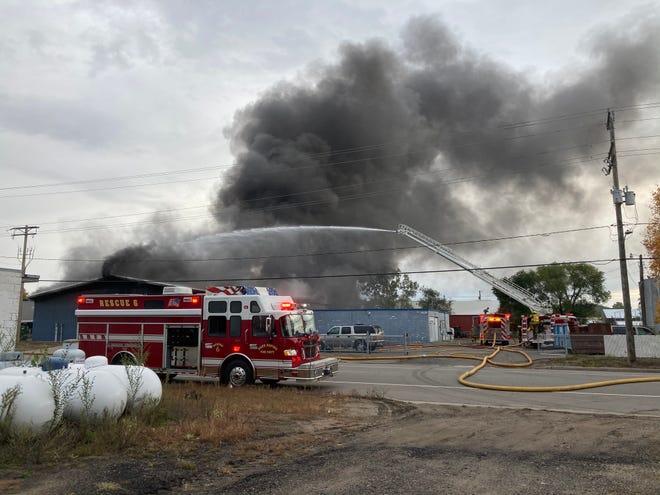 Sauk Rapids fire crews battled a fire at Cutting Edge Grinding on Tuesday, Sept. 29, 2020.