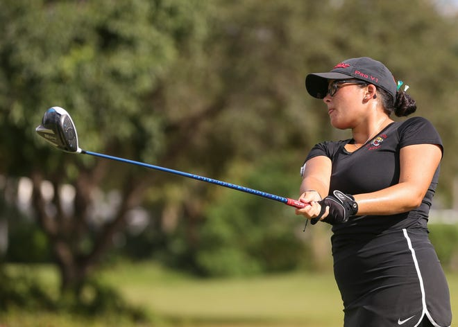 Port St. Lucie's Zoey Iglesias tees off on the third hole during a high school girls golf match against Vero Beach and Jensen Beach at The Saints at Port St. Lucie Golf Course on Tuesday, Sept. 29, 2020, in Port St. Lucie.