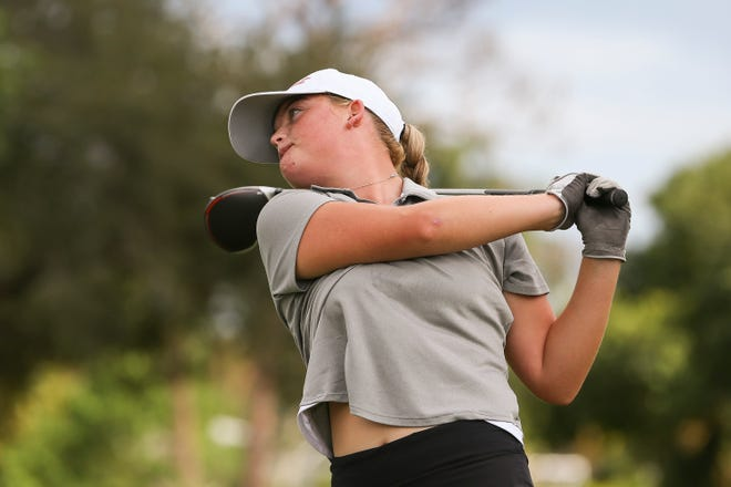 Jensen Beach's Gia Quinn tees off on the fourth hole during a high school girls golf match against Port St. Lucie and Vero Beach at The Saints at Port St. Lucie Golf Course on Tuesday, Sept. 29, 2020, in Port St. Lucie.