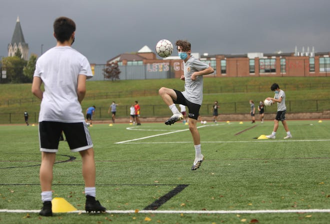 Ossining High School holds their first boys soccer practice on Tuesday, September 29, 2020.