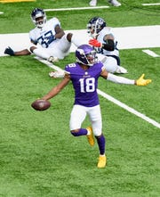 Vikings wide receiver Justin Jefferson strolls into the end zone on a 71-yard touchdown bomb in Week 3 against the Titans.