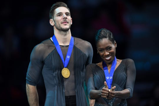 Morgan Cipres, left, and Vanessa James have announced their retirement from figure skating.  Cipres is under investigation by the U.S. Center for SafeSport and Florida law enforcement after allegedly sending lewd photographs to a 13-year-old girl.