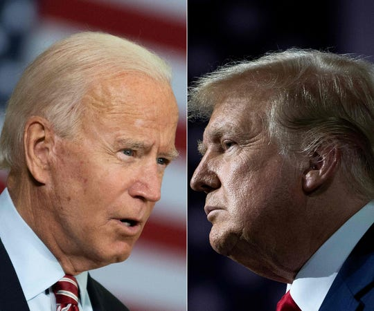 Democratic presidential candidate Joe Biden, left, speaking in Tampa, Florida on Sept. 15 and President Donald Trump speaking during an event for black supporters in Atlanta on Sept. 25.