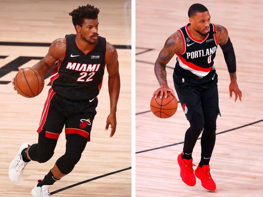 The Miami Heat's Jimmy Butler, left, and the Portland Trail Blazers' Damian Lillard, right.