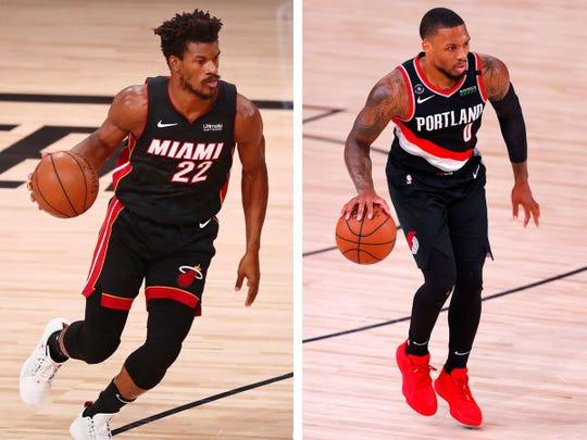 The Miami Heat's Jimmy Butler, left, and the Portland Trail Blazers' Damian Lillard, right.