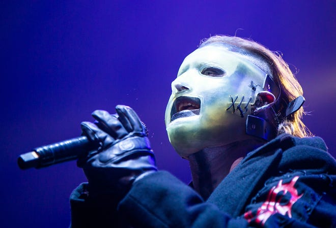 Corey Taylor performs with Slipknot in Budapest, Hungary, on Feb. 4, 2020