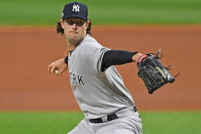 New York Yankees starting pitcher Gerrit Cole is among the favorites to win the American League Cy Young Award. [David Dermer/Associated Press]