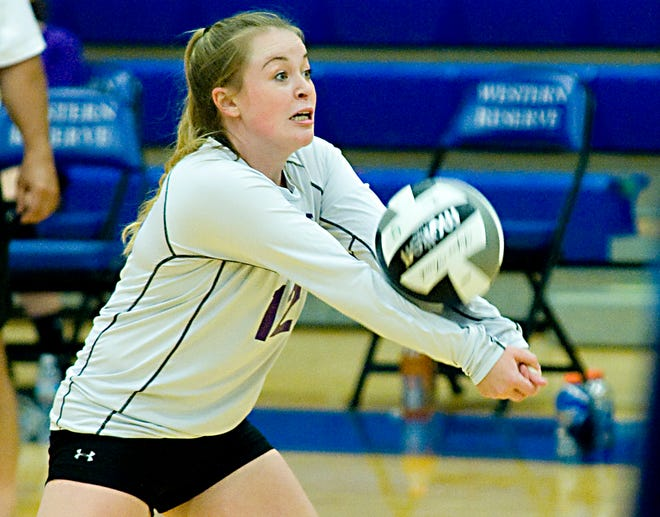 Sebring McKinley's Emma Whaley records a dig in a Mahoning Valley Athletic Conference game at Western Reserve High School Tuesday, September 29, 2020.
