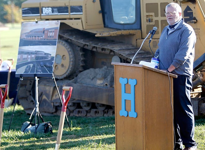 Superintendent Steve Dickerson speaks at the ceremonial groundbreaking for the new Hillsdale Local Schools K-12 building on Wednesday.