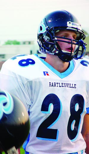 Bartlesville HIgh School's Nathan Alleman shattered his leg in a car accident his junior year, but returned as a full-time two-way player and kicker in 2002 and later went on to become a record-breaking kicker at Pittsburg (Kan.) State.
