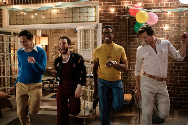 "From left, Jim Parsons, Robin De Jesus, Michael Benjamin Washington and Andrew Rannells in a scene from ""The Boys in the Band."""