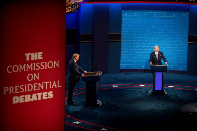 President Donald Trump and Democratic presidential candidate, former Vice President Joe Biden appear in the first Presidential debate in the Sheila and Eric Samson Pavilion at the Cleveland Clinic, Tuesday, Sept. 29, 2020, in Cleveland.