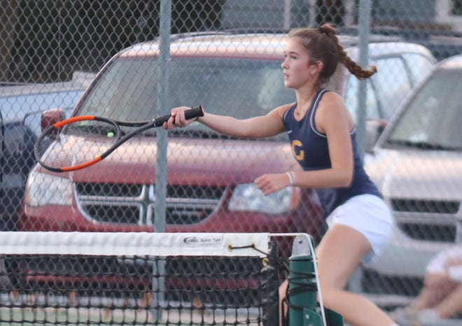 Hayden Winjum won a grueling match over Thief River Falls' Emma Fagerstrom, 6-2, 4-6, 6-4, to claim Tuesday's match for Crookston.