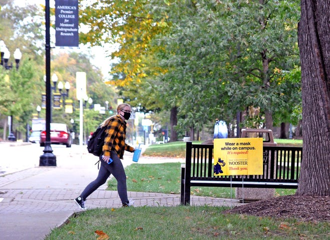 The College of Wooster campus has numerous signs urging students and employees to wear face masks.