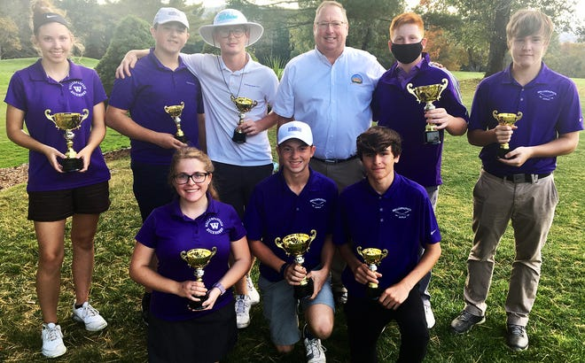 Wallenpaupack Area's varsity golf team turned in a stellar performance at this year's Wayne County Commissioners Cup. The event was held Monday afternoon at the Honesdale Golf Club. Pictured here along with Commissioner Joe Adams are (first row, from left): Maya Pagano, Joseph Lauersen, Anthony Paolicelli. Second row: Alexis Peet, Joe Ferrara, Pat Smith, Kevin Wortman, Grady Hearn.