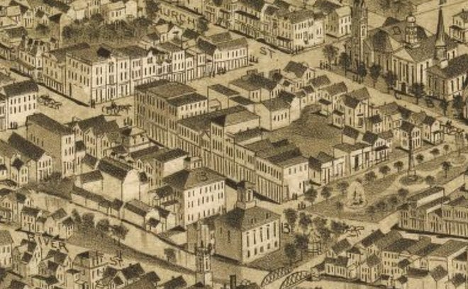 "This is a portion of the 1890 arial sketch map of Carbondale, Pa. The old City Hall is in center, near the bottom, marked as ""13."" Joseph Alexander's tall brick building, with a mansard roof, is the tall structure on the other side of North Main, about half way up the block from the park at right. The 1st Presbyterian Church is at top right at the corner of Church Street and Salem Avenue."