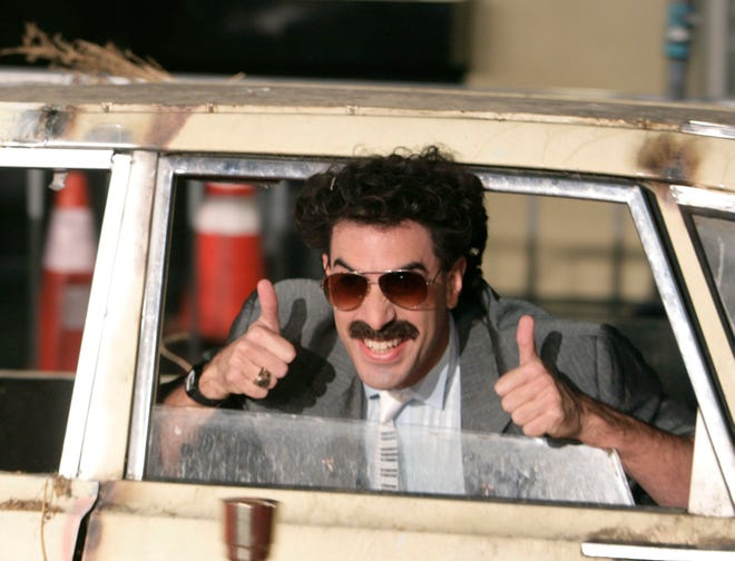 "In this Oct. 23, 2006, file photo, actor Sacha Baron Cohen arrives in character as Borat for the film premiere of ""Borat: Cultural Learnings of America for Make Benefit Glorious Nation of Kazakhstan,"" in the Hollywood section of Los Angeles. Borat is back. Cohen has filmed a sequel."