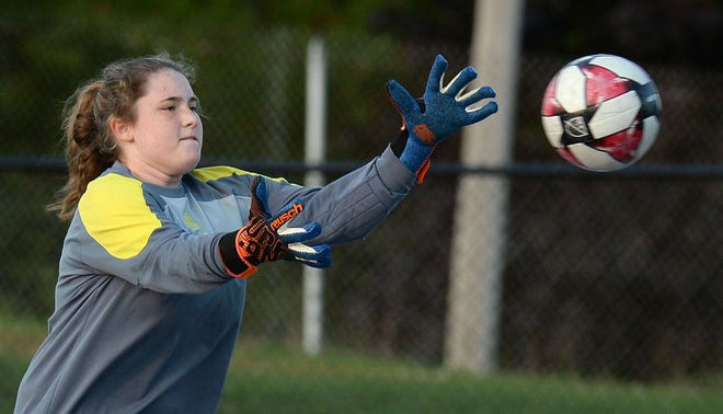 Seneca junior goalkeeper Tori Carney stops a Fort LeBoeuf shot at Carm Bonito Field on Sept. 22, 2020, in Waterford.