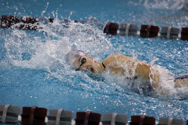 Burlington High School's Jordyn Boyer swims in her 50 yard freestyle varsity race during the team's meet against Bettendorf Tuesday, Sept. 29, at the BHS swimming pool.