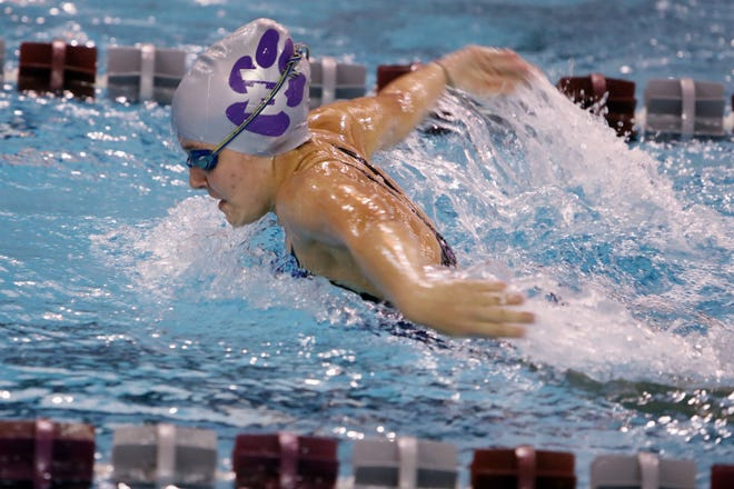 Burlington High School's Azriel Counterman swims in her 200 yard IM varsity race during the team's meet against Bettendorf, Tuesday Sept. 29, 2020 at the BHS swimming pool.