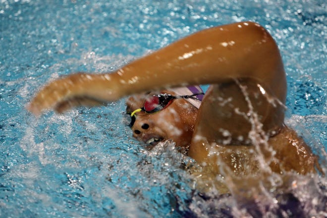 Burlington High School's Amari Bailey swims in her 200 yard IM varsity race during the team's meet against Bettendorf Tuesday, Sept. 29, at the BHS swimming pool.
